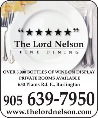 Lord Nelson Fine Dining (905-639-7950) - Annonce illustr&eacute;e
