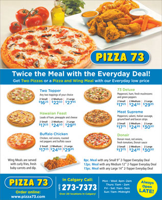 Pizza 73 (403-273-7373) - Display Ad