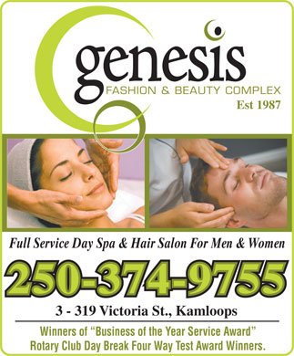 Genesis Fashion & Beauty Complex (250-374-9755) - Display Ad