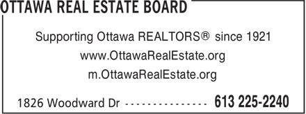 Ottawa Real Estate Board (613-225-2240) - Annonce illustrée======= - Supporting Ottawa REALTORS® since 1921 - www.OttawaRealEstate.org - m.OttawaRealEstate.org