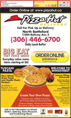 Pizza Hut (1-888-318-5459) - Menu