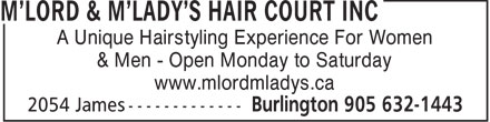 M'Lord & M'Lady's Hair Court Inc (289-812-1295) - Display Ad