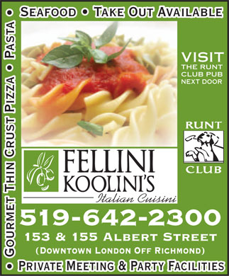 Fellini Koolini's Italian Cuisini (519-642-2300) - Display Ad