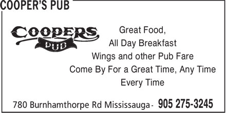 Cooper's Pub (905-275-3245) - Display Ad