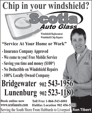 Scotia Auto Glass (902-523-1180) - Annonce illustrée - Ron TibertRon Tibert