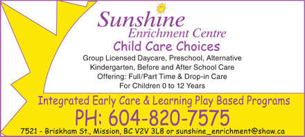 Sunshine Enrichment Centre (604-820-7575) - Annonce illustr&eacute;e