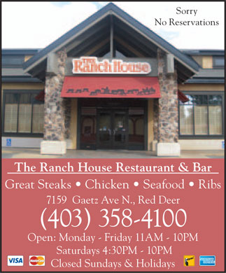 Ranch House Restaurant & Bar (403-358-4100) - Display Ad - TM (403)  TM (403)  TM (403)  TM (403)  TM (403)  TM (403)  TM (403)  TM (403)
