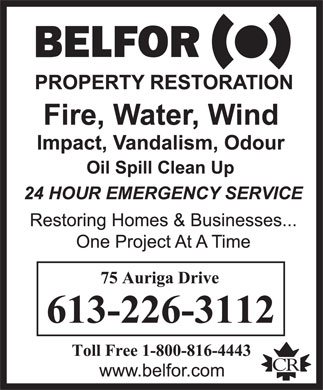 Belfor Property Restoration (613-226-3112) - Display Ad