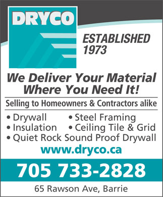 Dryco (705-733-2828) - Annonce illustr&eacute;e - 705 733-2828 65 Rawson Ave, Barrie  705 733-2828 65 Rawson Ave, Barrie