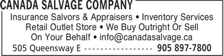 Canada Salvage Company (905-897-7800) - Display Ad