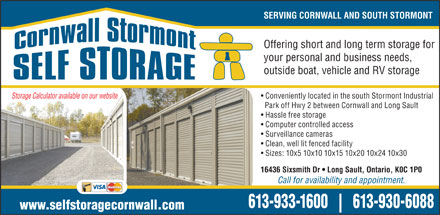 Cornwall Stormont Self Storage (613-209-2113) - Annonce illustrée