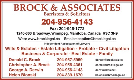 Brock & Associates (204-956-4143) - Display Ad
