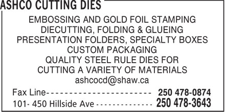 Ashco Cutting Dies (250-478-3643) - Display Ad