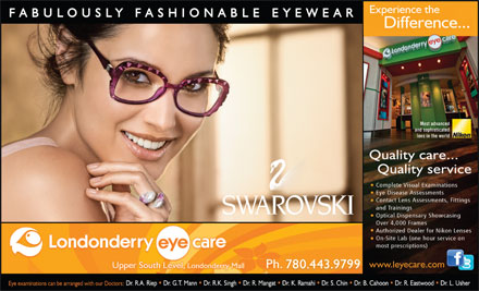 Londonderry Eye Care (780-392-0323) - Display Ad - 780.443.9799799780.443.9 780.443.9799799780.443.9