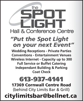 Spotlight Hall & Conference Centre (613-937-4141) - Annonce illustrée