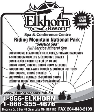 Elkhorn Resort Spa & Conference Centre (204-848-2802) - Display Ad
