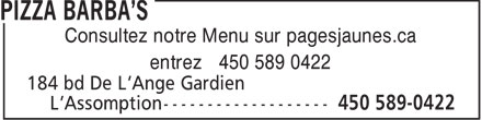 Pizza Barba'S (450-589-0422) - Annonce illustr&eacute;e - Consultez notre Menu sur pagesjaunes.ca entrez 450 589 0422