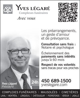 Yves L&eacute;gar&eacute; (450-689-1500) - Annonce illustr&eacute;e