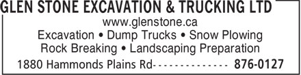 Glen Stone Excavation &amp; Trucking Ltd (902-876-0127) - Annonce illustr&eacute;e - www.glenstone.ca Excavation   Dump Trucks   Snow Plowing Rock Breaking   Landscaping Preparation