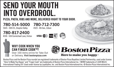 Boston Pizza (780-712-7300) - Annonce illustrée