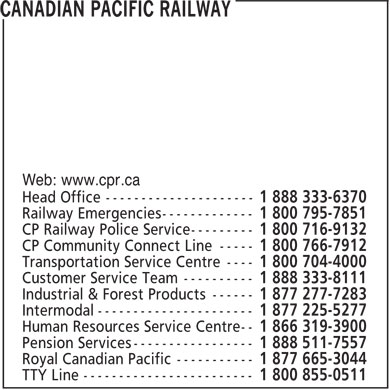 Canadian Pacific Railway (1-888-333-6370) - Annonce illustrée - Web: www.cpr.ca