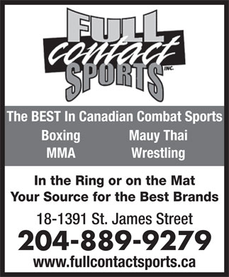Full Contact Sports Inc (204-889-9279) - Annonce illustrée