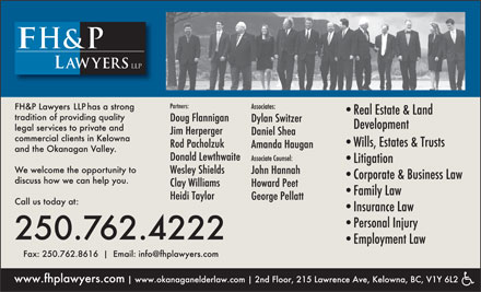 FH&P Lawyers (250-762-4222) - Display Ad