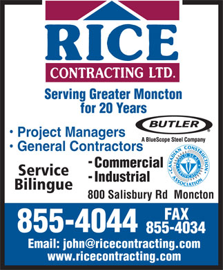 Rice Contracting Ltd (506-855-4044) - Annonce illustrée