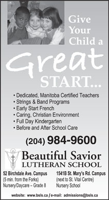 Beautiful Savior Lutheran School (204-984-9600) - Annonce illustrée - (204) 984-9600  (204) 984-9600