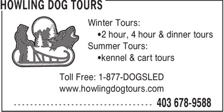 Howling Dog Tours (403-678-9588) - Display Ad