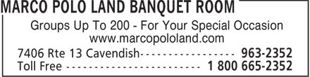 Marco Polo Land Banquet Room (902-963-2352) - Annonce illustrée - Groups Up To 200 - For Your Special Occasion www.marcopololand.com