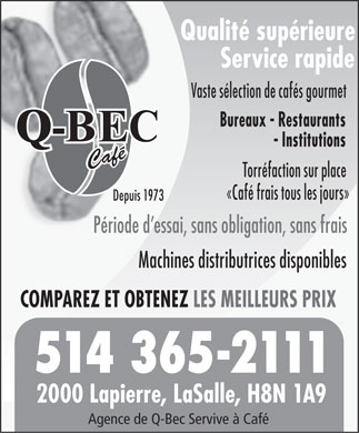 Q-Bec Coffee Service (438-899-8343) - Display Ad