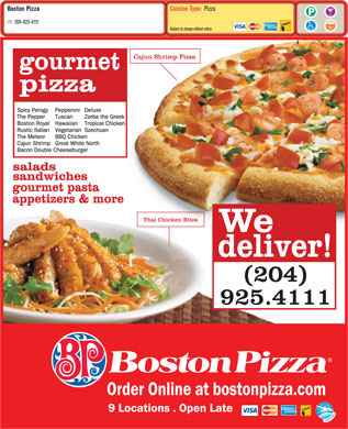 Boston Pizza (204-925-4111) - Menu