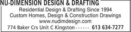Nu-Dimension D &amp; D (613-634-7277) - Display Ad - Residential Design &amp; Drafting Since 1994 Custom Homes, Design &amp; Construction Drawings www.nudimdesign.com