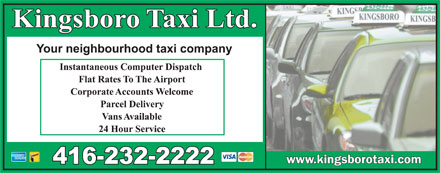 Kingsboro Taxi Ltd (416-232-2222) - Display Ad