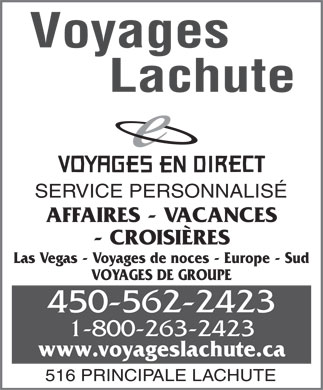 Voyages Lachute (450-562-2423) - Annonce illustr&eacute;e