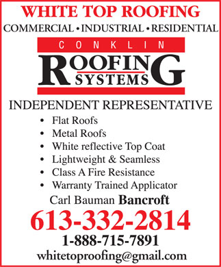 White Top Roofing Inc (613-332-2814) - Display Ad