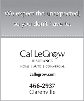Cal LeGrow Insurance Ltd (709-466-2937) - Annonce illustr&eacute;e