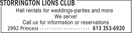 Storrington Lions Club (613-353-6920) - Display Ad - Hall rentals for weddings-parties and more - We serve! - Call us for information or reservations