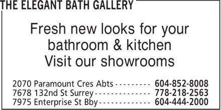 B.A Robinson Co Ltd (604-444-2000) - Display Ad - Fresh new looks for your bathroom & kitchen Visit our showrooms
