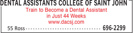 Dental Assistants College of Saint John (506-696-2299) - Annonce illustrée