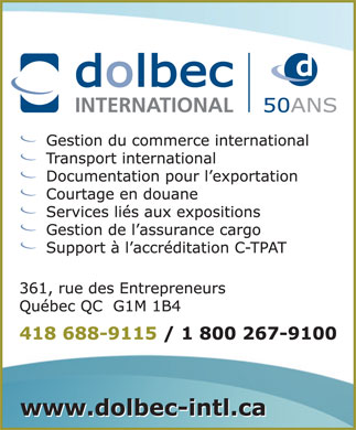 Dolbec International inc (418-688-9115) - Annonce illustrée