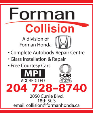 Forman Collision Centre (204-728-8740) - Display Ad