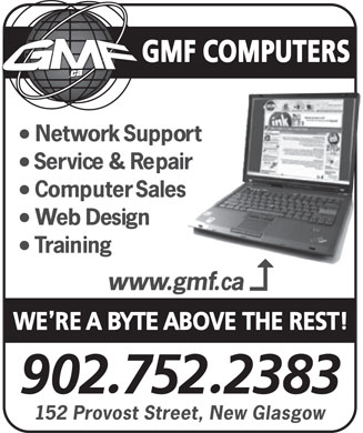 G M F Computers (902-752-2383) - Annonce illustrée - GMF COMPUTERS 152 Provost Street, New Glasgow  GMF COMPUTERS 152 Provost Street, New Glasgow