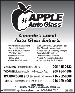 Apple Auto Glass (905-415-2622) - Annonce illustrée