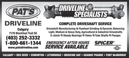 Pat's Driveline (403-252-3332) - Display Ad