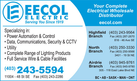 EECOL Electric (403-243-5594) - Display Ad