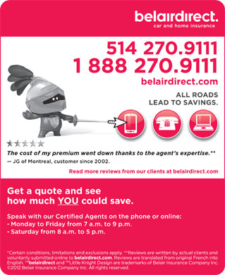 belairdirect (514-270-9111) - Display Ad