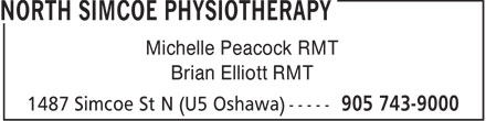North Simcoe Physiotherapy (905-743-9000) - Display Ad - Michelle Peacock RMT Brian Elliott RMT  Michelle Peacock RMT Brian Elliott RMT
