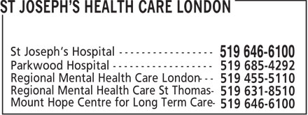 St Joseph's Health Care London (519-646-6100) - Annonce illustrée